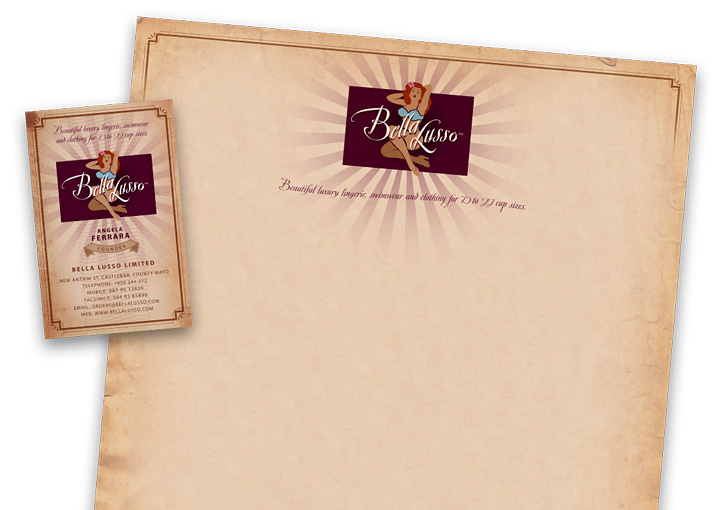 Bella Lusso letterhead and business card design