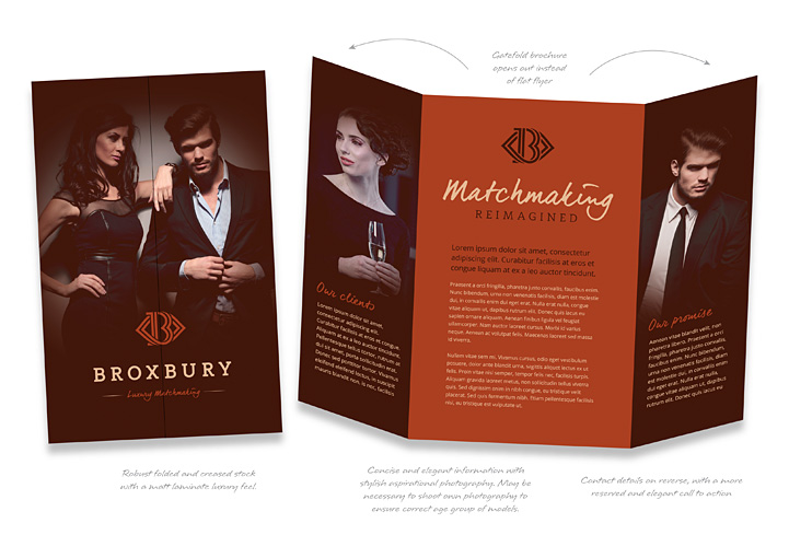 Broxbury luxury matchmaking brochure design