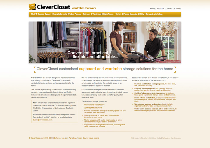 CleverCloset website design 1