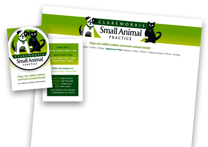 Claremorris Small Animal Practice letterhead and business card design