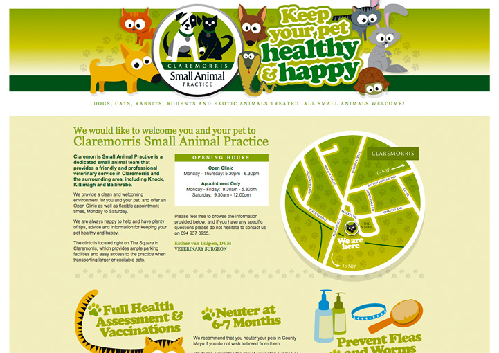 Claremorris Small Animal Practice web page design 1
