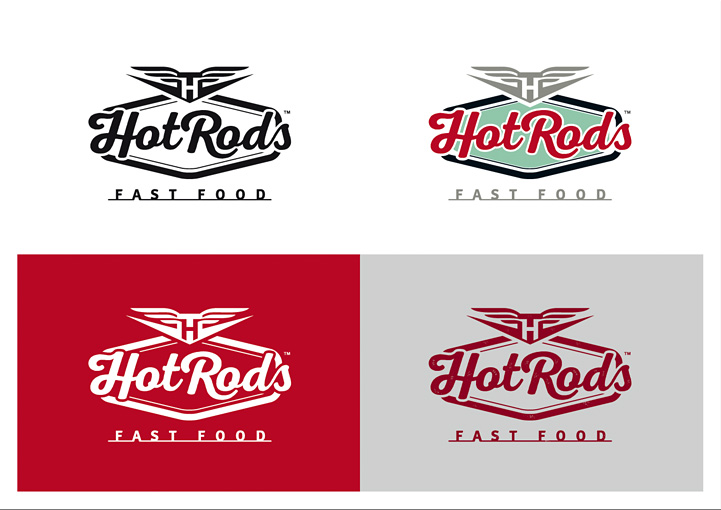 HotRods Fast Food logo design variations
