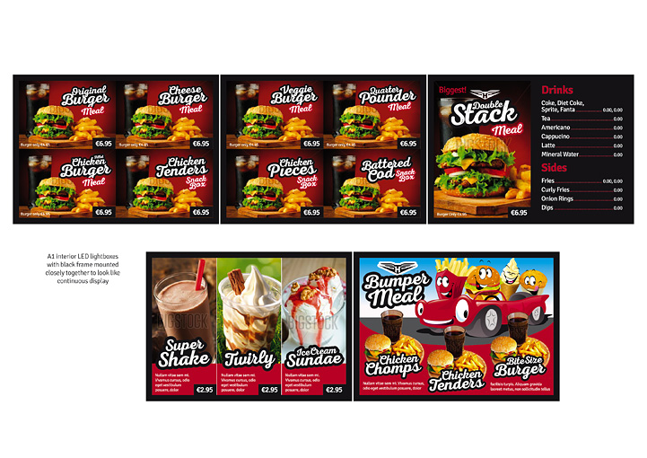 HotRods Fast Food menu board designs