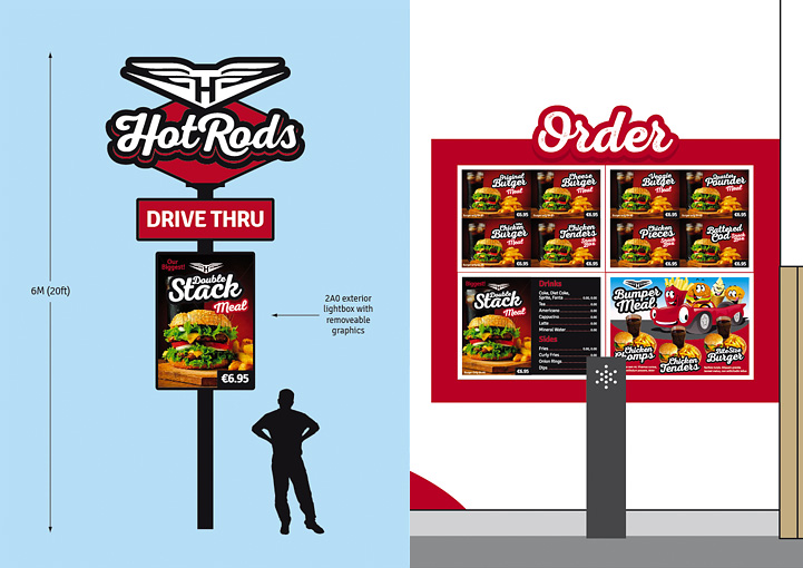 HotRods Fast Food drive through signage design