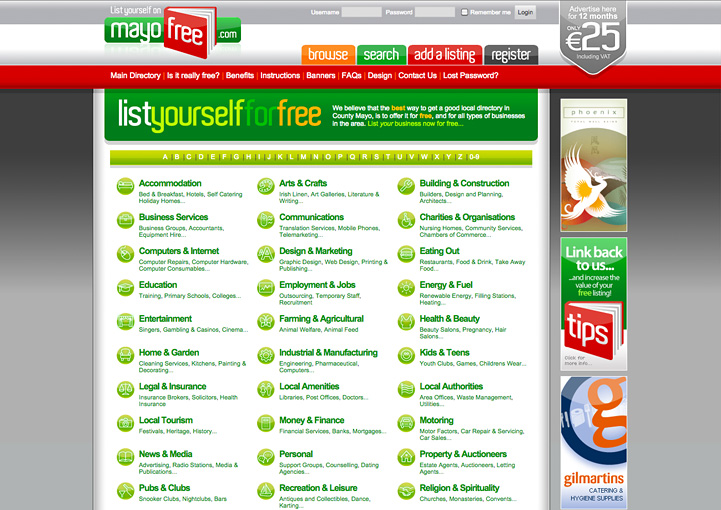 MayoFree web directory design