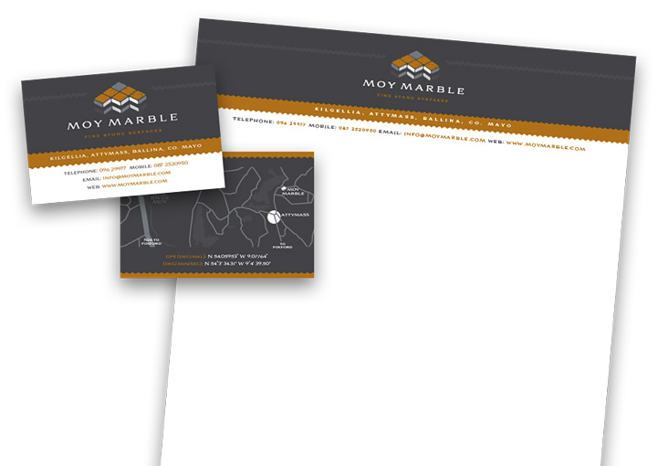 Moy Marble business card and letterhead design