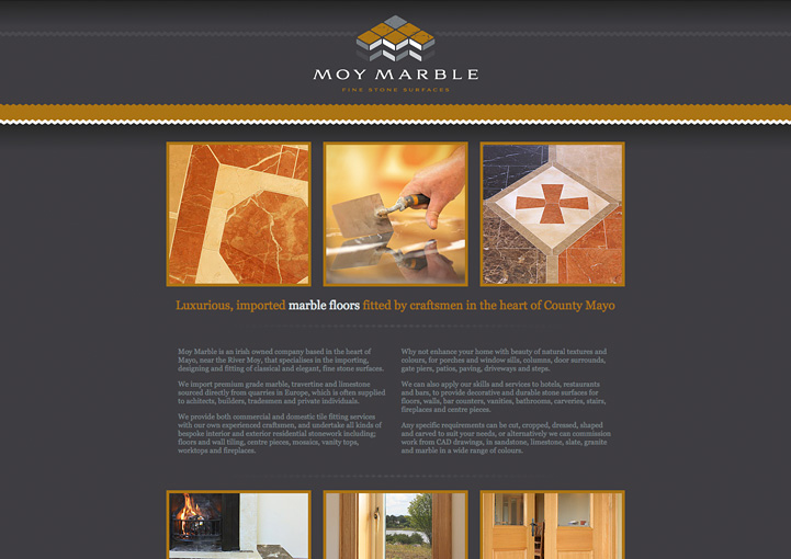 Moy Marble web page design