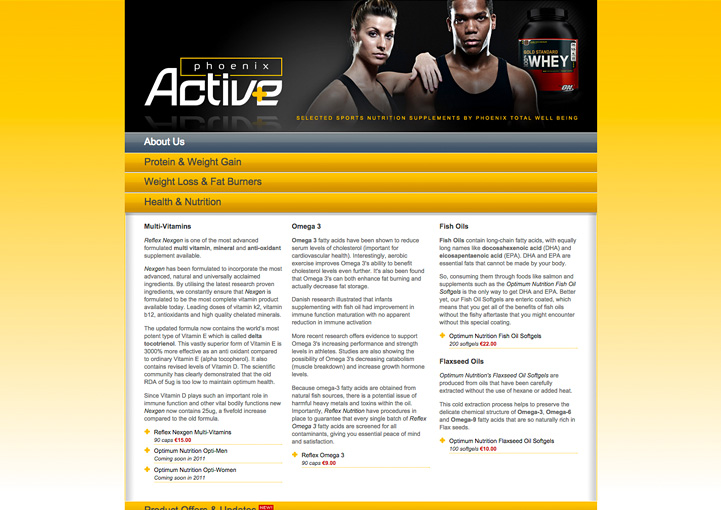 Phoenix Active web site design