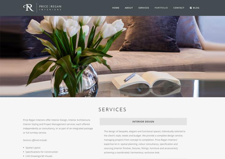 ... Price Regan Interiors Web Page Design ...