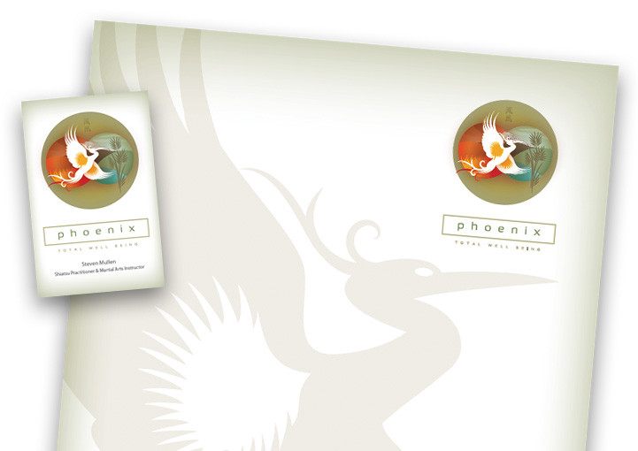 Phoenix Total Well-Being business card and letterhead design