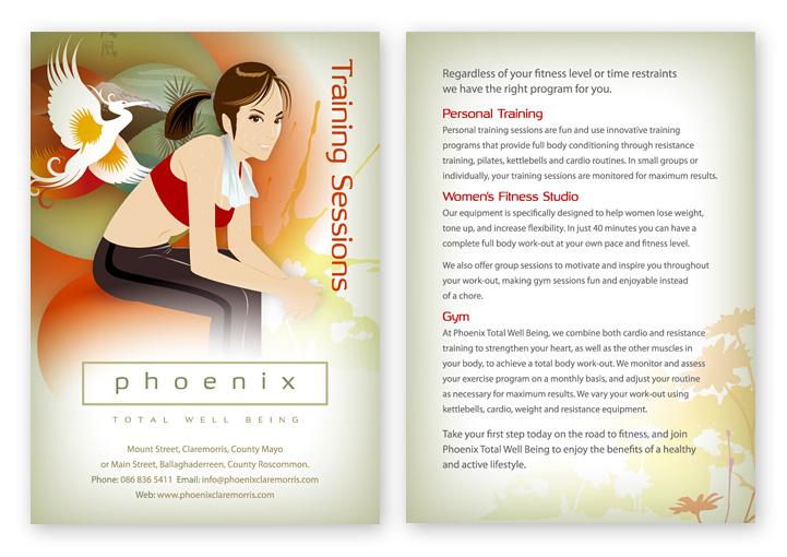 Phoenix Total Well-Being personal training postcard design
