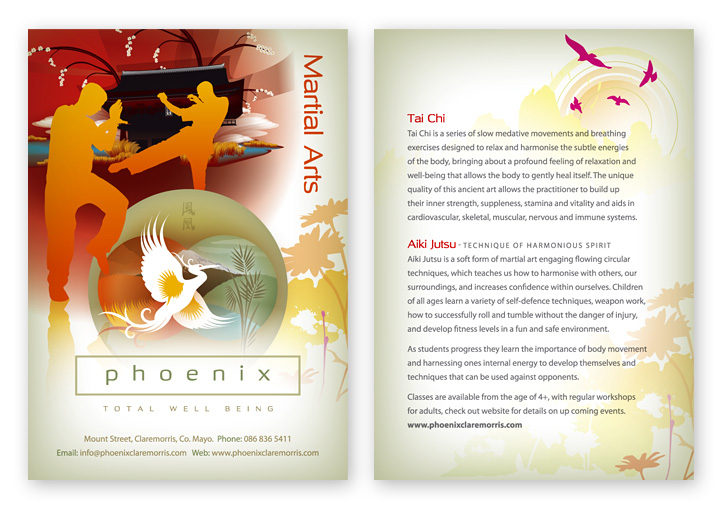 Phoenix Total Well-Being martial arts postcard design