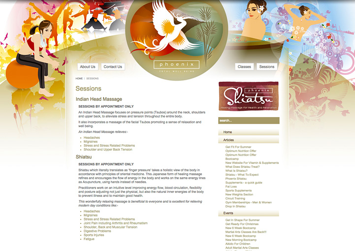 Phoenix Total Well-Being web page design