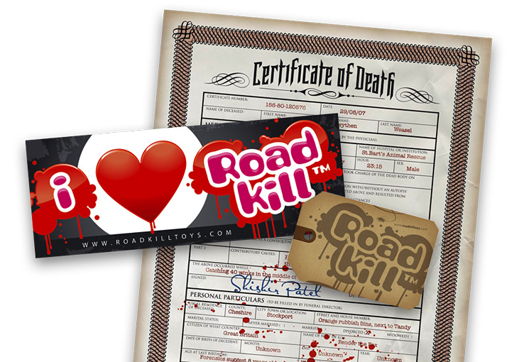 Roadkill Toys sticker, label and flyer design