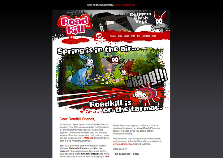 Roadkill Toys HTML Email Newsletter Design Los Angeles