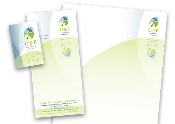 USP Training and Development business card, compliments slip and letterhead design