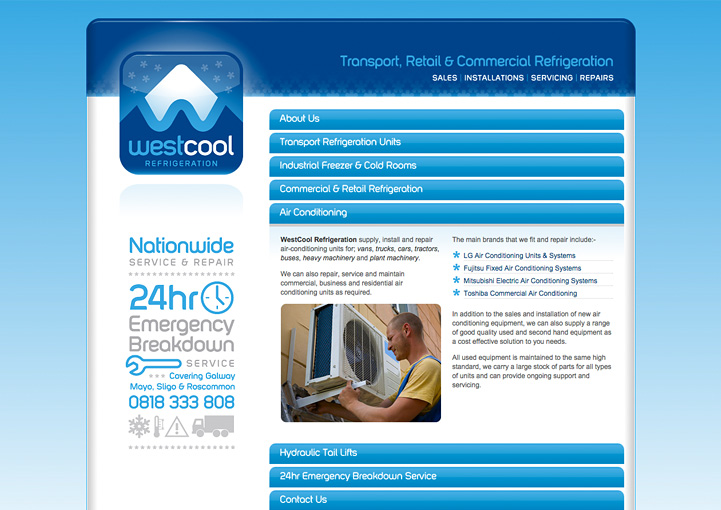 Westcool Refrigeration web page design
