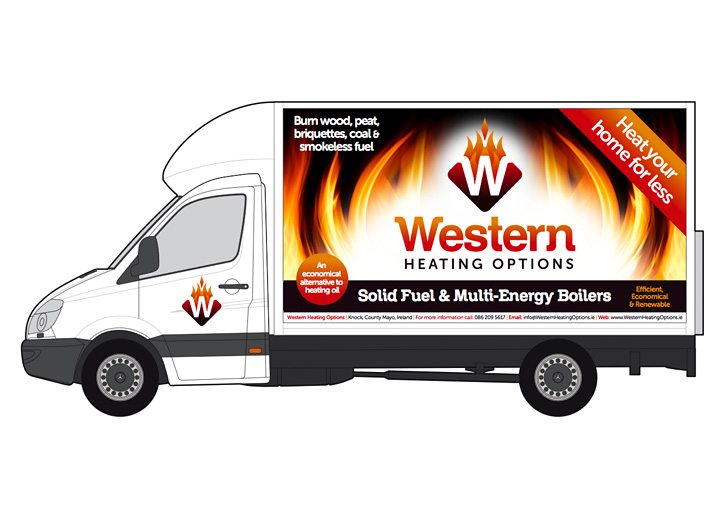 Western Heating Options vehicle graphics design
