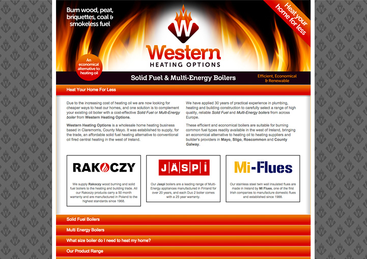 Western Heating Options web page design