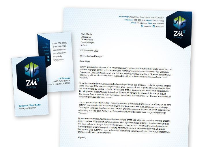 Zii3 Strategy business card and letterhead design